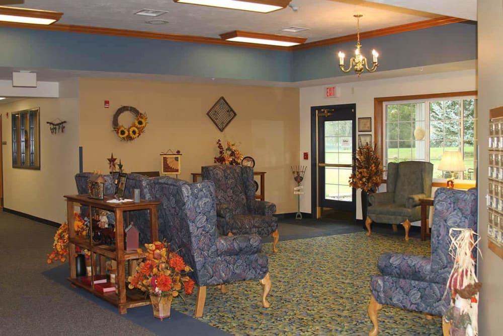 Comfortable lobby seating at Holstein Senior Living in Holstein, Iowa.