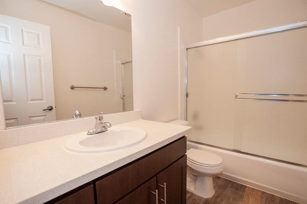 Modern bathroom at apartments in Campbell, California
