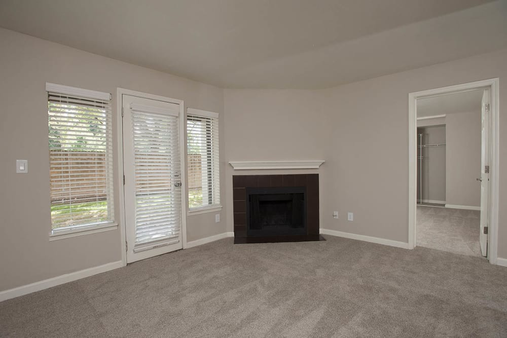 Spacious floor plan with fireplace at Waterhouse Place in Beaverton, Oregon