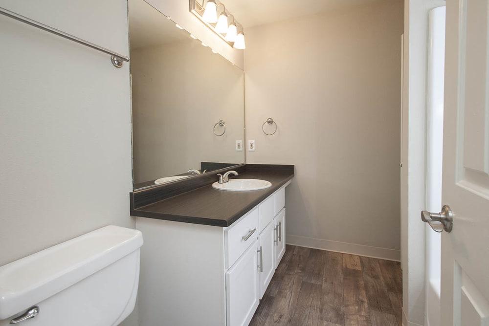 Bathroom with nice vanity lighting at Waterhouse Place in Beaverton, Oregon