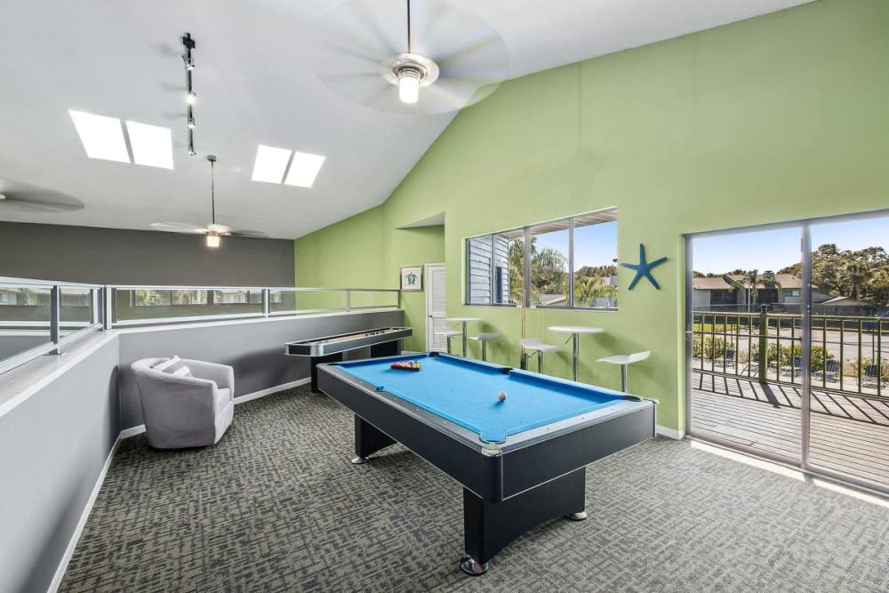 Another view of the pool table in the fun clubhouse at WestEnd At 76Ten in Tampa, Florida