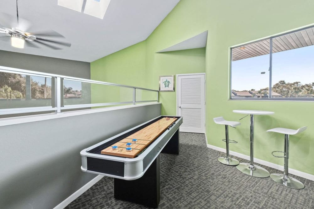 Shuffleboard located in the clubhouse at WestEnd At 76Ten in Tampa, Florida