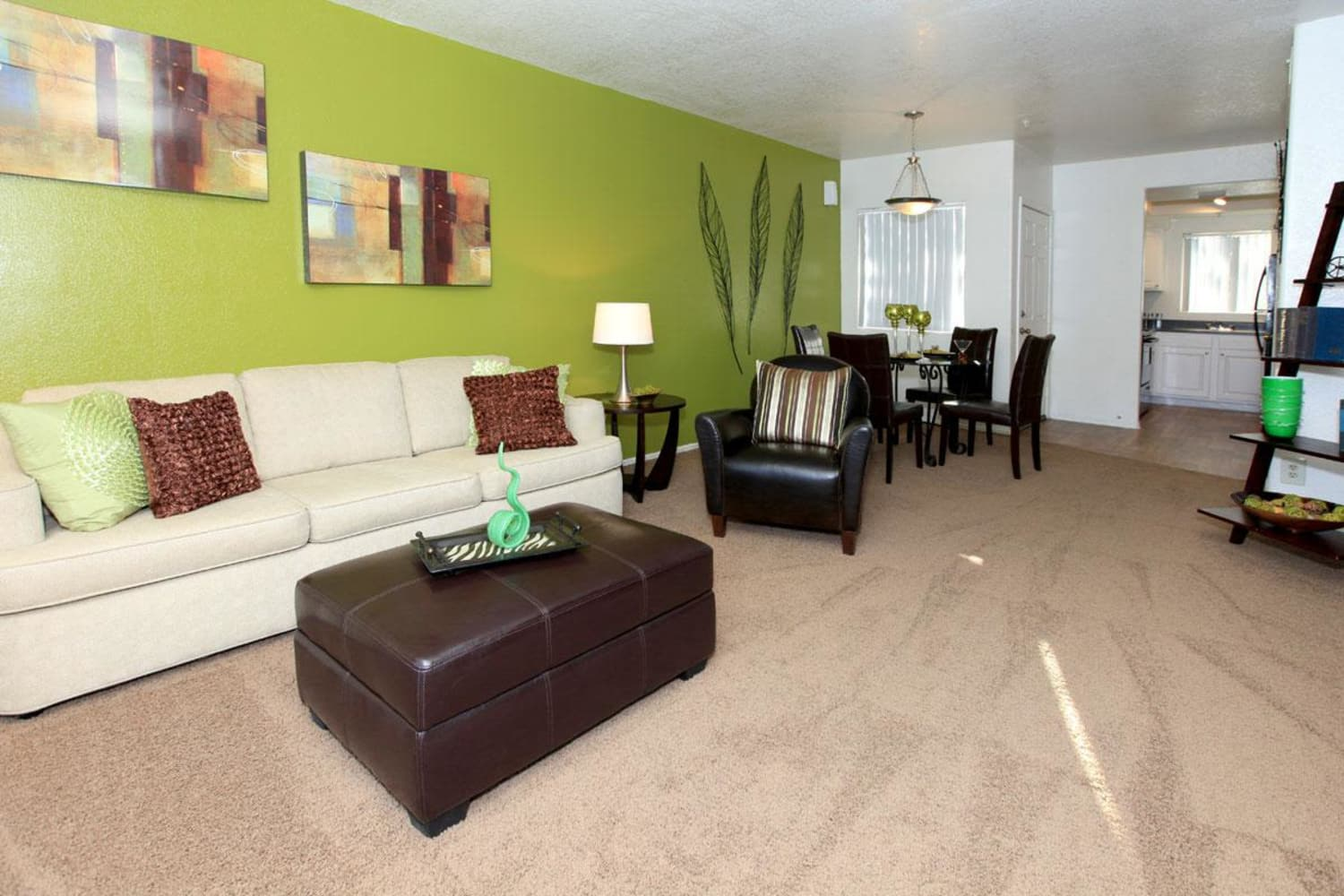 Well appointed living room at Alcove at the Islands in Gilbert, Arizona