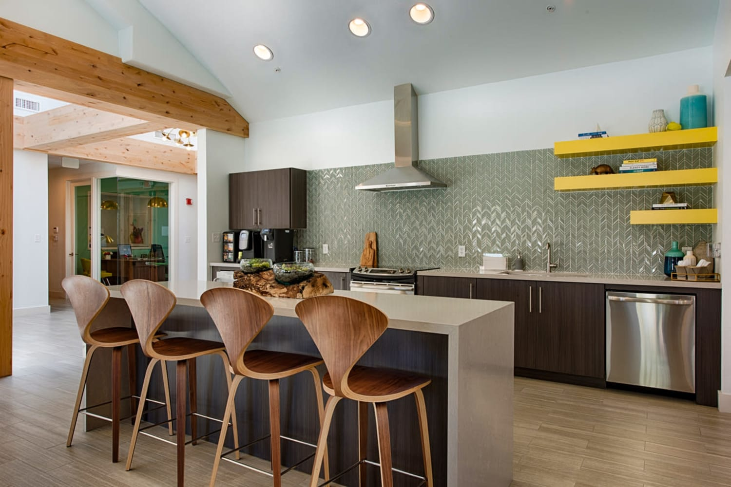Sonoran Vista Apartments in Scottsdale, Arizona, offer a clean and modern clubhouse kitchen
