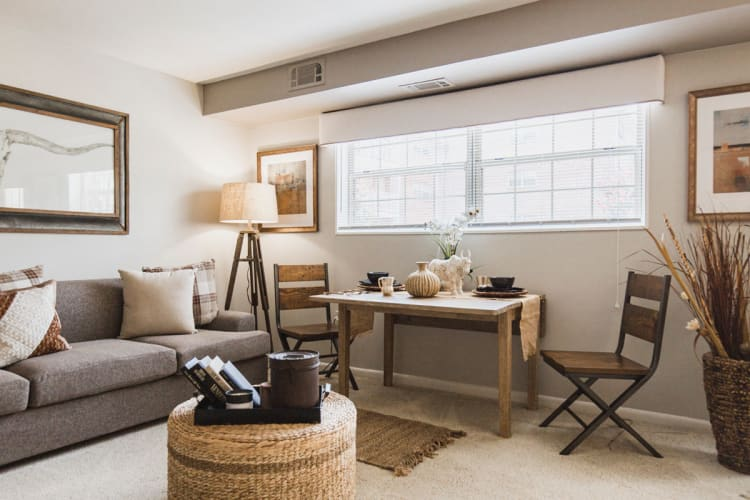 Well-decorated living area in model home at Westgate Apartments & Townhomes in Manassas, Virginia