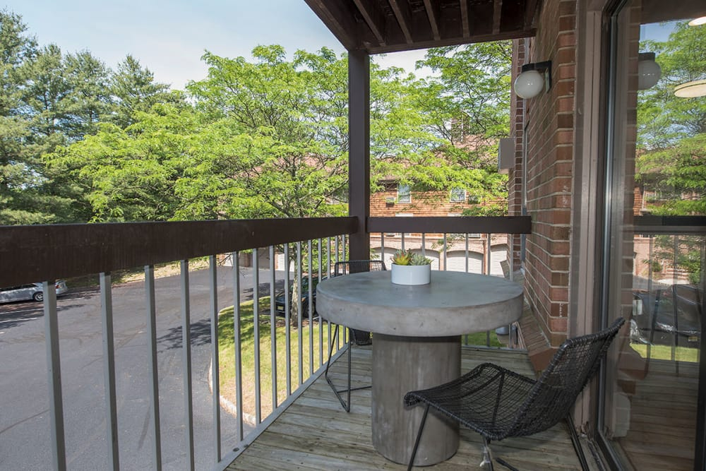 Outdoor balcony seating at Everly Roseland in Roseland, New Jersey