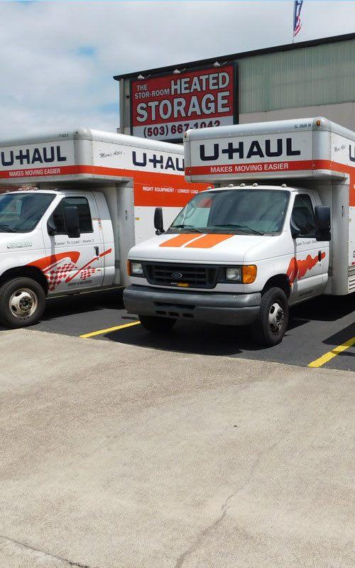 U-Haul trucks at Stor-Room Mini Storage in Portland, Oregon