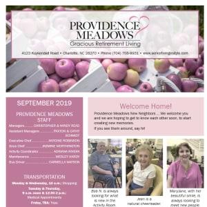 September Providence Meadows Gracious Retirement Living Newsletter