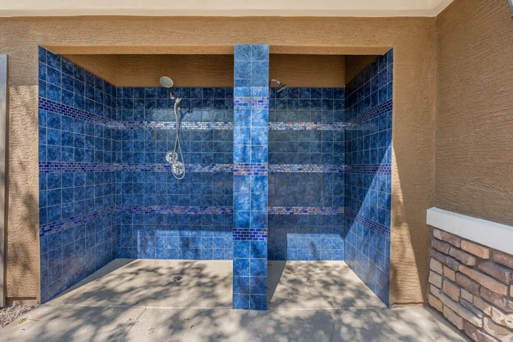 Outdoor pool rinse off showers at Marquis at Sonoran Preserve in Phoenix, Arizona