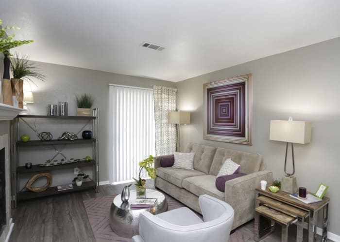 EnVue Apartments showcases a cozy living room in Bryan, Texas