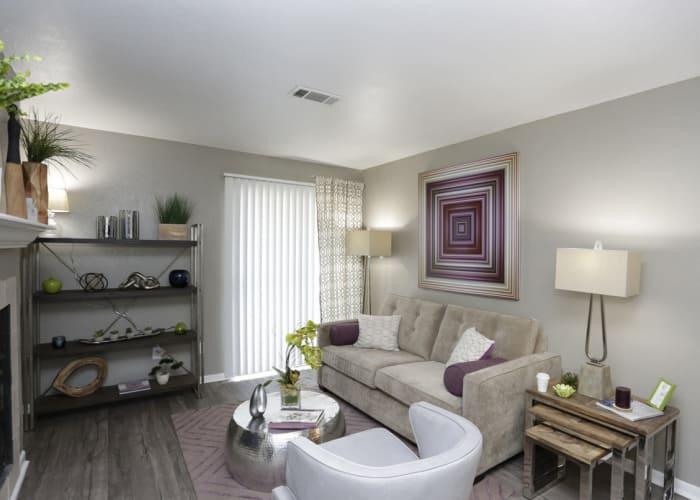 EnVue Apartments showcases a cozy living room in Bryan, Texas