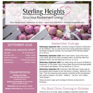 September Sterling Heights Gracious Retirement Living Newsletter