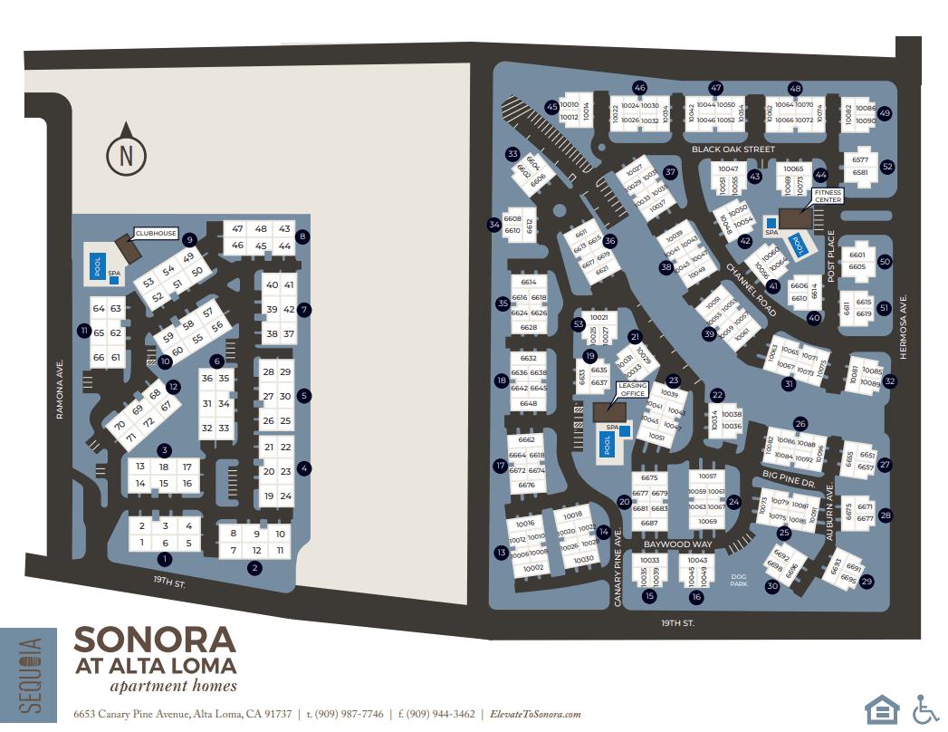 Community site map for Sonora at Alta Loma in Alta Loma, California