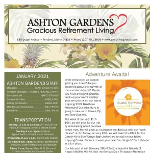 January newsletter at Ashton Gardens Gracious Retirement Living in Portland, Maine