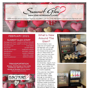 February newsletter at Summit Glen in Colorado Springs, Colorado