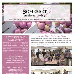 September Somerset Assisted Living newsletter