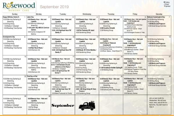 Rosewood Memory Care Calendar