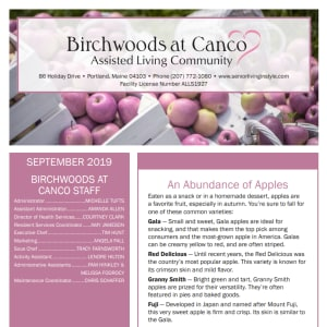 September Birchwoods at Canco Assisted Living Newsletter