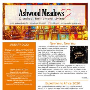 January newsletter at Ashwood Meadows Gracious Retirement Living in Johns Creek, Georgia