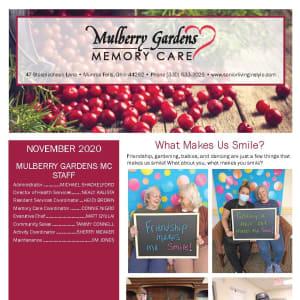 November newsletter at Mulberry Gardens Memory Care in Munroe Falls, Ohio
