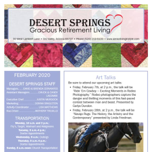 February Desert Springs Gracious Retirement Living Newsletter