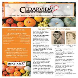 October newsletter at Cedarview Gracious Retirement Living in Woodstock, Ontario