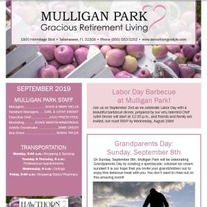 September Mulligan Park Gracious Retirement Living Newsletter
