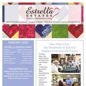 February Estrella Estates Gracious Retirement Living newsletter