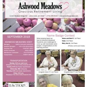 September newsletter at Ashwood Meadows Gracious Retirement Living in Johns Creek, Georgia