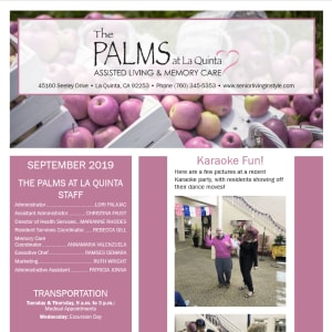 September The Palms at La Quinta Assisted Living and Memory Care Newsletter