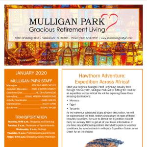January Mulligan Park Gracious Retirement Living Newsletter