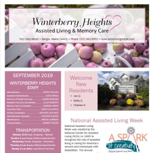 September Winterberry Heights Assisted Living Newsletter
