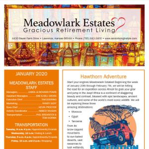 January Meadowlark Estates Gracious Retirement Living Newsletter