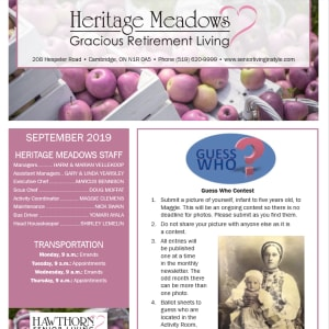 September Heritage Meadows Gracious Retirement Living Newsletter