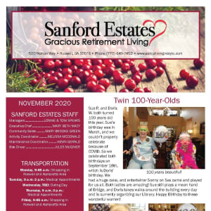 November newsletter at Sanford Estates Gracious Retirement Living in Roswell, Georgia