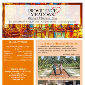 January Providence Meadows Gracious Retirement Living Newsletter