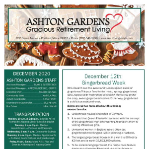 Ashton Gardens Gracious Retirement Living newsletter