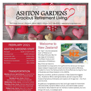 February newsletter at Ashton Gardens Gracious Retirement Living in Portland, Maine