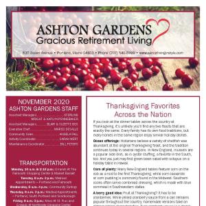 November newsletter at Ashton Gardens Gracious Retirement Living in Portland, Maine