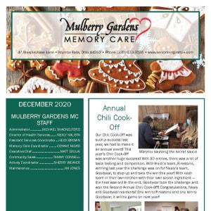 December Mulberry Gardens Memory Care newsletter