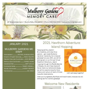 January newsletter at Mulberry Gardens Memory Care in Munroe Falls, Ohio