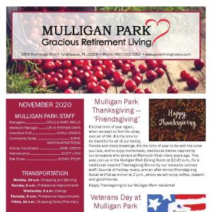 November newsletter at Mulligan Park Gracious Retirement Living in Tallahassee, Florida