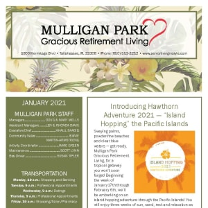 January newsletter at Mulligan Park Gracious Retirement Living in Tallahassee, Florida