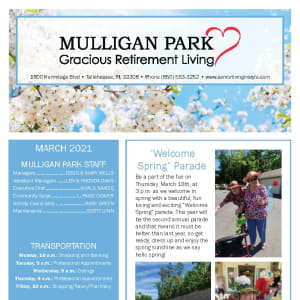 March Mulligan Park Gracious Retirement Living newsletter