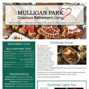 December Mulligan Park Gracious Retirement Living newsletter