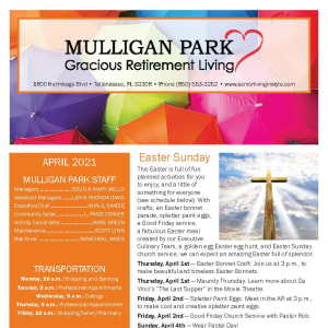 April newsletter at Mulligan Park Gracious Retirement Living in Tallahassee, Florida