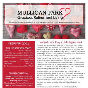 February newsletter at Mulligan Park Gracious Retirement Living in Tallahassee, Florida