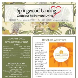 January newsletter at Springwood Landing Gracious Retirement Living in Vancouver, Washington