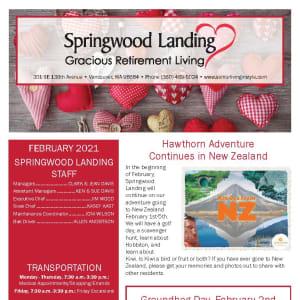 February newsletter at Springwood Landing Gracious Retirement Living in Vancouver, Washington