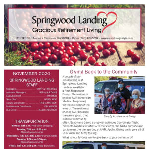 November newsletter at Springwood Landing Gracious Retirement Living in Vancouver, Washington